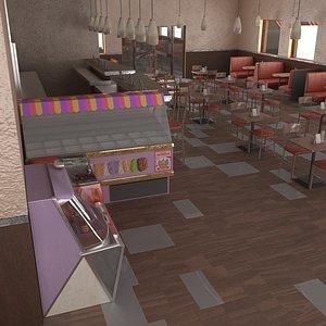 3D diner cafe american