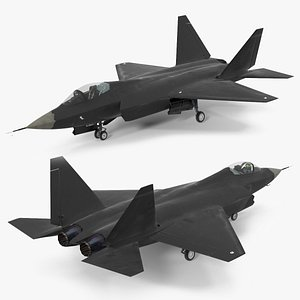Multirole Jet Fighter Rigged 3D model