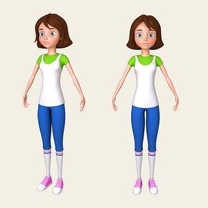 girl cartoon toon 3D