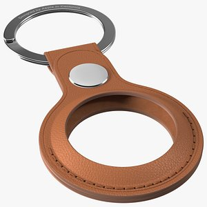 AirTag Leather Key Ring Saddle Brown 3D model