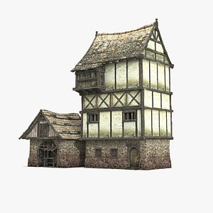 3D medieval composite house model