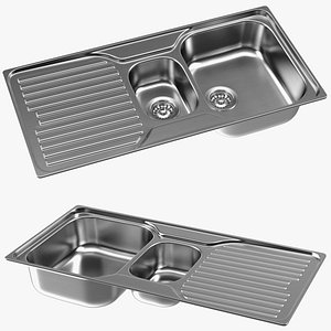 3D Double Bowl Kitchen Sink with Drainboard