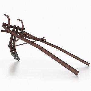 Western - Wooden Plow 3D model