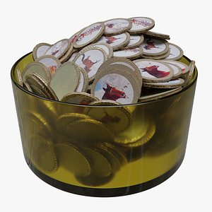 3D Bowl of Russian Chocolate Coins model