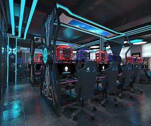 3D Electronic sports net cafe science fiction net cafe sense of science and technology