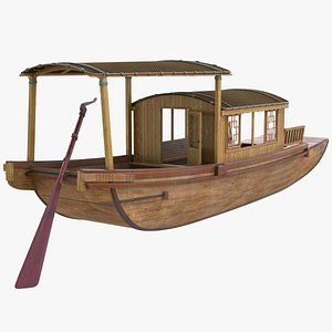 3D model Traditional Chinese Wooden Passenger Boat