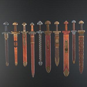 set viking swords 3D model