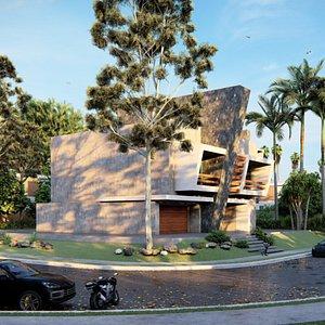 modern building villa restaurant 3D model