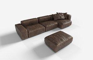 minimalist leather sofa 3D