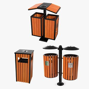 3D Outdoor Trash Bins Collection