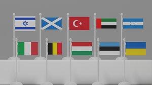 3D flag architectural model