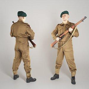 3D British commando with gun 282 model
