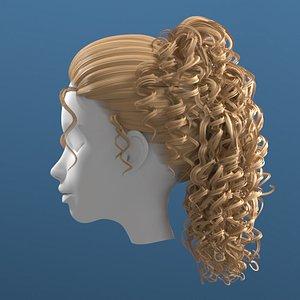 3D model hair curly woman
