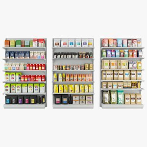 3D coffee supermarket shelf model