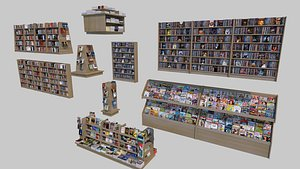 3D bookcase shelving books model