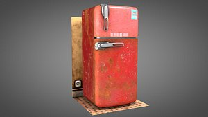 Old worn vintage rusty Fridge 3D model