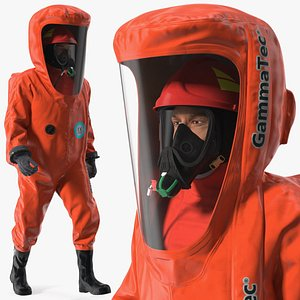 Heavy Duty Chemical Protective Suit Walking Pose Red 3D model