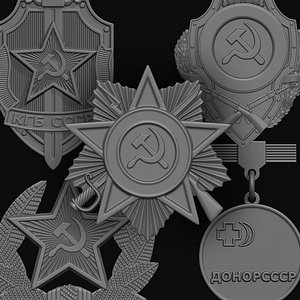 wwii badges 3D model