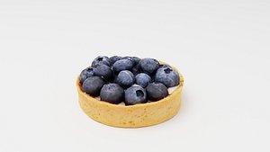 3D Blueberry tartelette, tart or tartlet pastry model