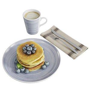 3D model Pancakes breakfast