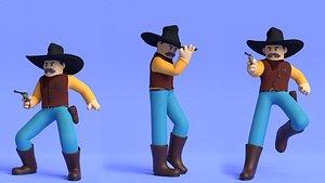 Minimal Cowboy 3D Cartoon Character model