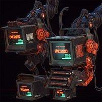 2 Cyberpunk Monitors-C4D-Octane-Redshift