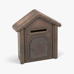 Wooden Post Box 3D