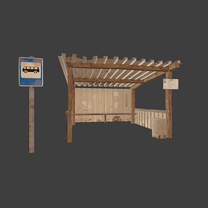 Old Russian bus stop-PBR 3D model
