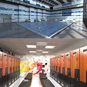 Swimming Pool and Locker Room 3D model