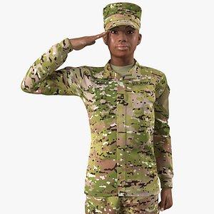 black female soldier green 3D