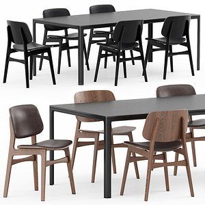 3D Soborg Wood Base chair and Mesa Table