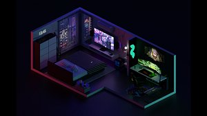 3D Low Poly Isometric | Gaming Bedroom