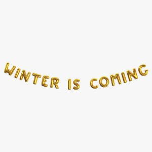 Foil Baloon Words Winter is Coming Gold 3D
