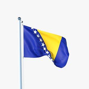 Animated Flag of Bosnia and Herzegovina model