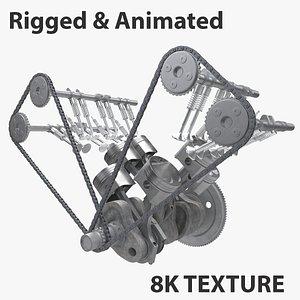 3D model engine car v6 animation
