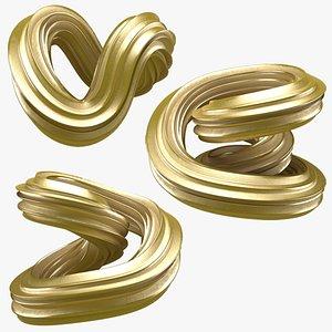3D Abstract Shape Gold Set model