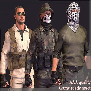 3D insurgent rebel soldier model