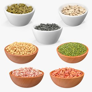 Beans and Seeds in a Bowl Collection 2 3D