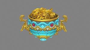 Cartoon cornucopia - Gold Ingot coin bullion 3D model