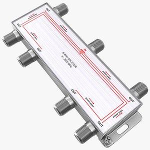 3D model Coaxial Splitter F Type 6 Way