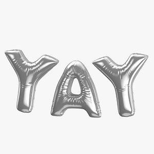 3D Foil Baloon Words Yay Silver model