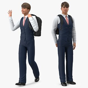 Teenage Boy School Uniform Rigged for Cinema 4D 3D model