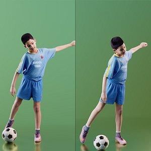 boy soccer playing 3D model
