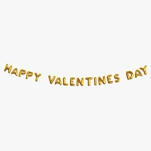3D model Foil Baloon Words Happy Valentines Day Gold