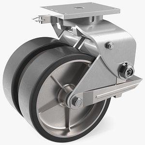 3D Twin Wheel Swivel Caster with Brake