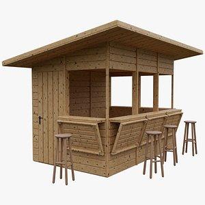 3D Wooden kiosk