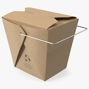 3D Kraft Paper Take Out Food Container 32 Oz model
