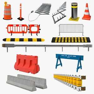 3D Road Barriers Collection 11