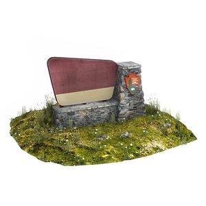 3D model national park sign