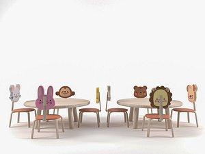 3D nursery table chair model